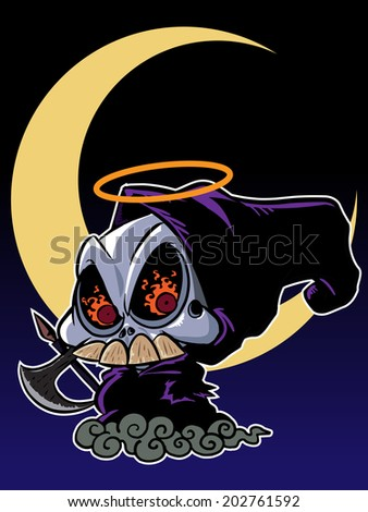 Character design grim reaper with scythe isolated on white - stock vector