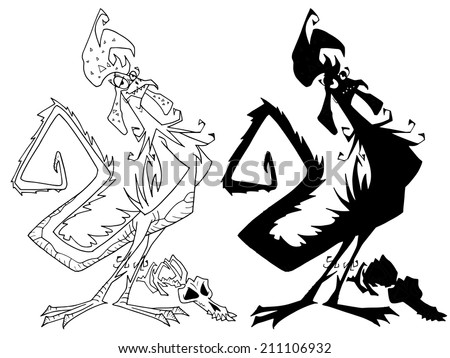 Character design Halloween Mythical creatures Basilisk Black and White