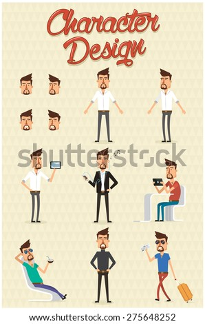 Character design set with different positions.Vector illustration - stock vector