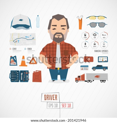 Character driver vector illustration - stock vector