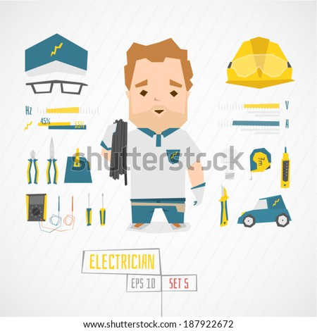 Character electrician vector illustration - stock vector