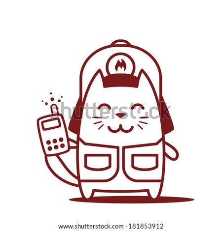 Character firefighter in coveralls and helmet line art. Cat male stands smiling and holding an phone - stock vector