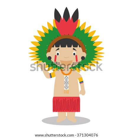 Character from Amazon Region in Brazil and Venezuela dressed in the traditional way Vector Illustration. Kids of the World Collection.  - stock vector