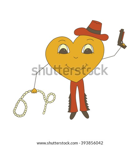 Character heart. Cowboy party competition in a Rodeo in the Wild West isolated on a white background. - stock vector