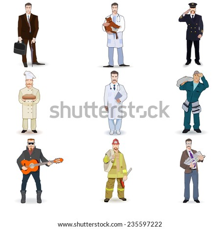 Character icon flat profession set  isolated vector illustration. on a white background - stock vector