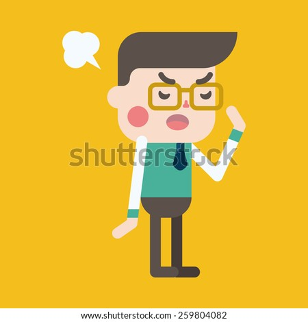 Character illustration design. Businessman angry cartoon,eps - stock vector