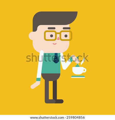 Character illustration design. Businessman drinking coffee cartoon,eps