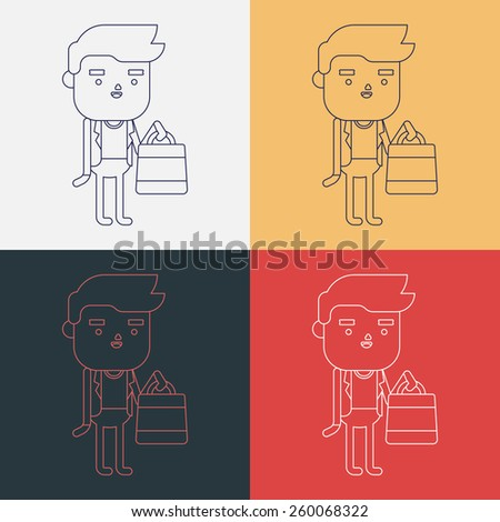 Character illustration design. Businessman shopping cartoon