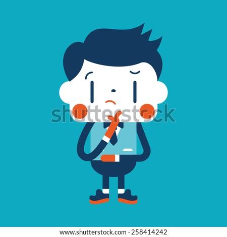 Character illustration design. Businessman thinking cartoon,eps - stock vector