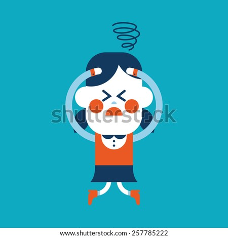 Character illustration design girl confused cartoon eps stock
