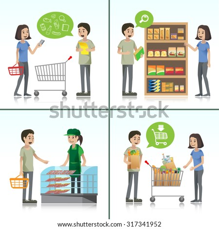 character man and woman shopping in supermarket.illustration show shopping step,check the list,check nutritional table of cargo,asking for advice,come back home. vector Illustration , Graphic Design - stock vector