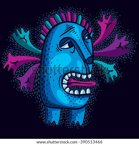 Character monster vector flat illustration, cute blue mutant. Drawing of weird beast, emotional expression.  - stock vector