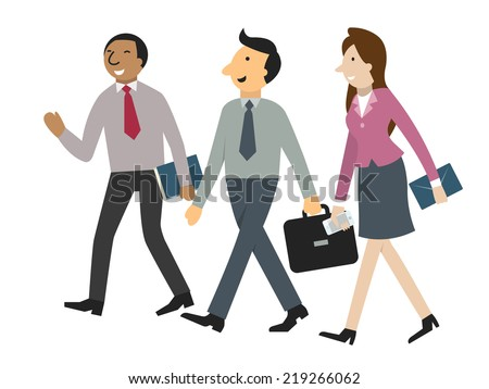 Character of businessman and woman walking and talking together in corporate or partnership concept. Simple design, isolated on white, separated layers for easy to use.  - stock vector