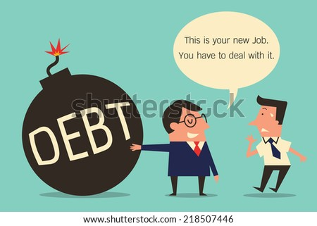 Character of businessman cartoon, boss and subordinate, boss shows iron ball of debt to new employee for to deal with it. Metaphor to facing difficult problem and solution. Simple design.  - stock vector