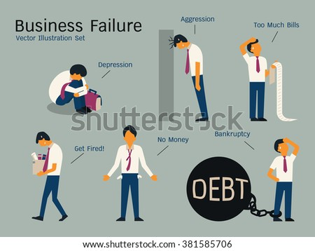 Character of businessman in failure concept, sitting alone in depression, get fired, no money, bankruptcy, banging head against wall, holding bills. Simple character with flat design.   - stock vector