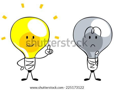 Character of the light bulb, inspiration Idea - stock vector