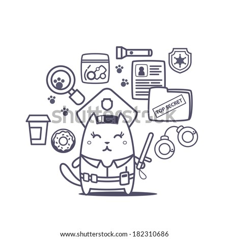 Character police in officer's cap and in the form of police with a official stick line art composition of professional accessories. Cat female stands smiling and holding a  police stick - stock vector