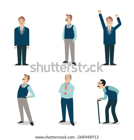 Character set of senior people, elderly, retired, old man with cane, backpain, happy. Simple and flat design. - stock vector