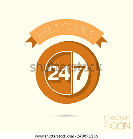 character 24 7 sign. - stock vector