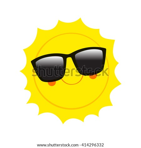 Character Sun in sunglasses and happy smile. Vector Illustration. Sun. Vector Sun.  Character Sun. Comic Sun. Sun. Vector Sun.  Character Sun. Comic Sun. Sun. Vector Sun.  Character Sun. Comic Sun.  - stock vector