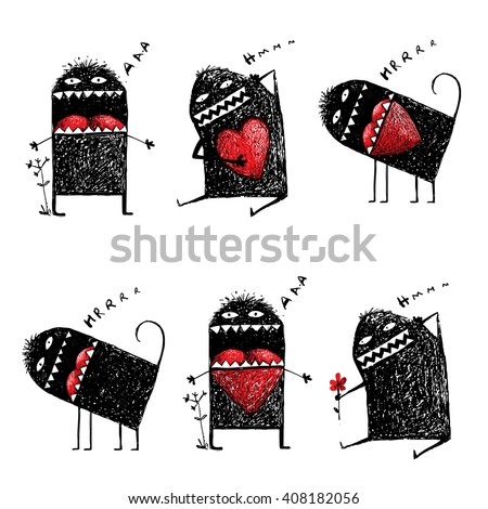 Character Ugly Eccentric Monster in Love with Red Heart Sketchy. Abstract black funny creature, bizarre humorous, creative character. Hand drawn vector illustration - stock vector