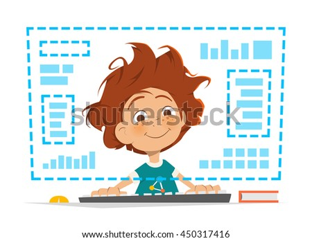 Character vector illustration of a happy smile boy kid child sitting in front of computer monitor Online education