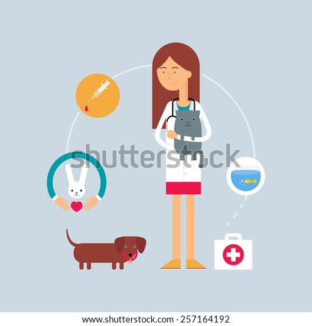 Character - veterinary surgeon, veterinary medicine concept. Vector illustration, flat style - stock vector