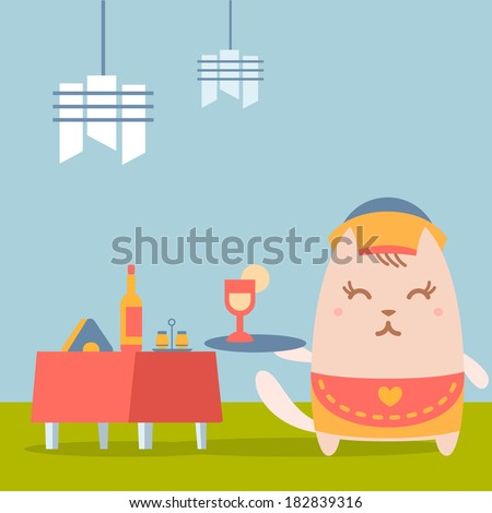 Character waiter in uniform, apron  and hat colorful flat. Cat female stands in a cafe near decorated table holding a tray - stock vector