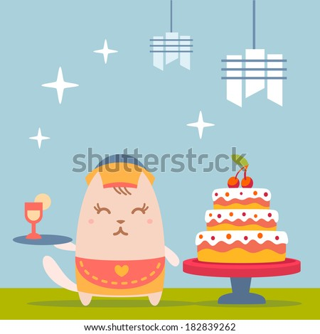 Character waiter in uniform, apron  and hat colorful flat. Cat female stands near the big beautiful cake  holding a tray - stock vector