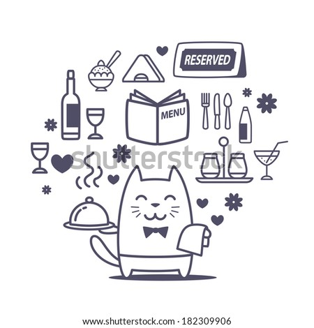 Character waiter uniform and bow tie line art composition of professional accessories. Cat male stands smiling and holding a tray - stock vector