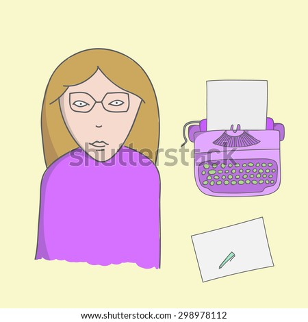 Character writer lady illustration with typewriter, sheet and pen on a yellow background - stock vector