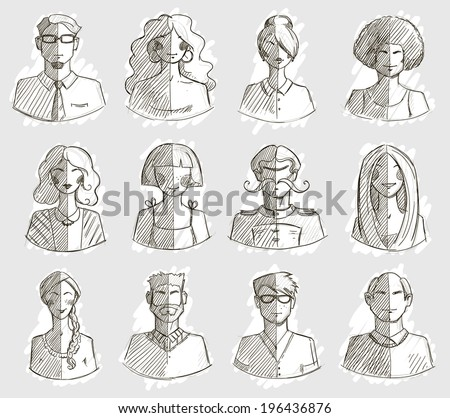 Characters design. Hand drawn icons. Faces sketch. Vector illlustration.  - stock vector