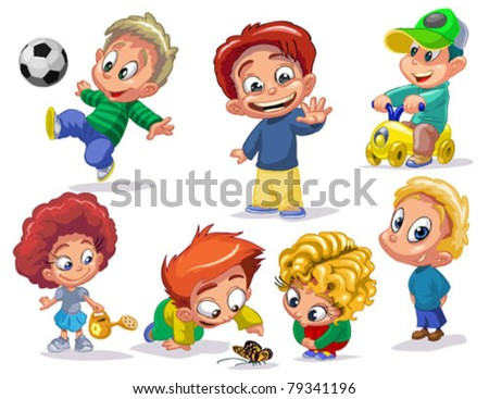 characters funny kids on a white background