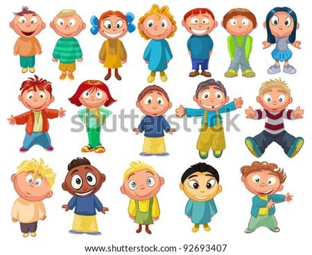 characters funny kids on a white background - stock vector