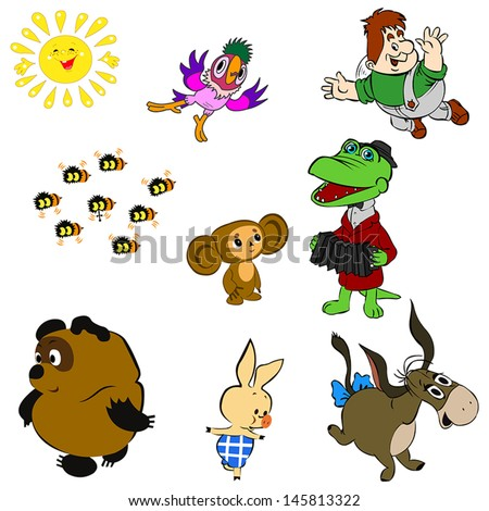 Characters of Soviet Cartoons - stock vector