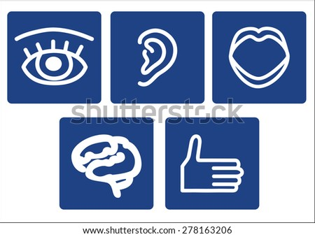 Characters. Pictogram on a blue background depicting body parts and organs - stock vector