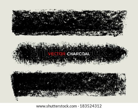 Charcoal texture stripes. Vector design elements. - stock vector