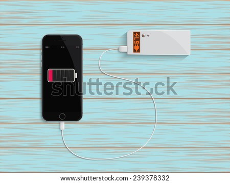 Charge your phone by power bank - stock vector