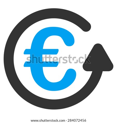 Chargeback from BiColor Euro Banking Icon Set. Vector style: flat bicolor, blue and gray symbol, rounded angles, white background. - stock vector