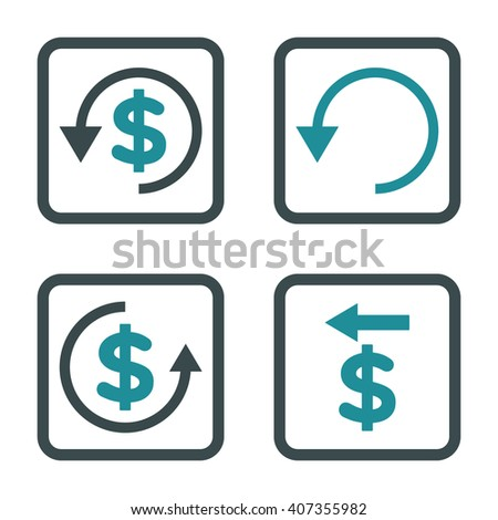 Chargeback vector bicolor icon. Image style is a flat icon symbol inside a square rounded frame, soft blue colors, white background. - stock vector