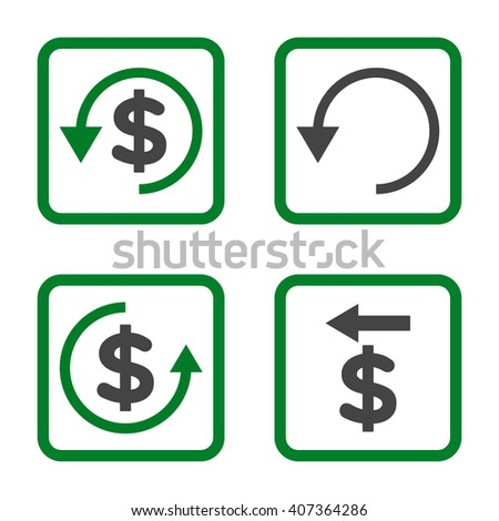 Chargeback vector bicolor icon. Image style is a flat icon symbol inside a square rounded frame, green and gray colors, white background. - stock vector