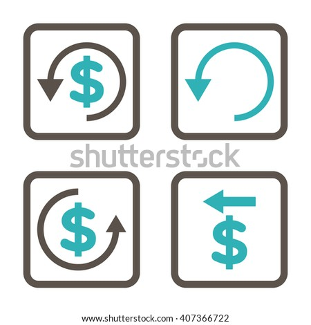 Chargeback vector bicolor icon. Image style is a flat icon symbol inside a square rounded frame, grey and cyan colors, white background. - stock vector