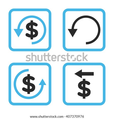 Chargeback vector bicolor icon. Image style is a flat icon symbol inside a square rounded frame, blue and gray colors, white background. - stock vector
