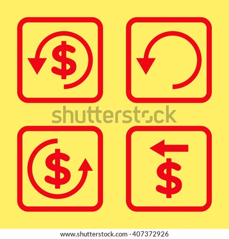 Chargeback vector icon. Image style is a flat icon symbol inside a square rounded frame, red color, yellow background. - stock vector
