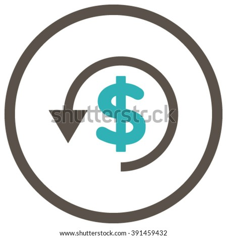 Chargeback vector icon. Style is bicolor flat rounded iconic symbol, chargeback icon is drawn with grey and cyan colors on a white background. - stock vector