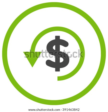 Chargeback vector icon. Style is bicolor flat rounded iconic symbol, chargeback icon is drawn with eco green and gray colors on a white background. - stock vector