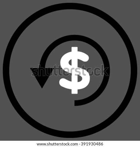Chargeback vector icon. Style is bicolor flat rounded iconic symbol, chargeback icon is drawn with black and white colors on a gray background. - stock vector