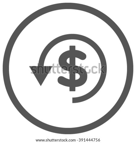 Chargeback vector icon. Style is flat rounded iconic symbol, chargeback icon is drawn with gray color on a white background. - stock vector