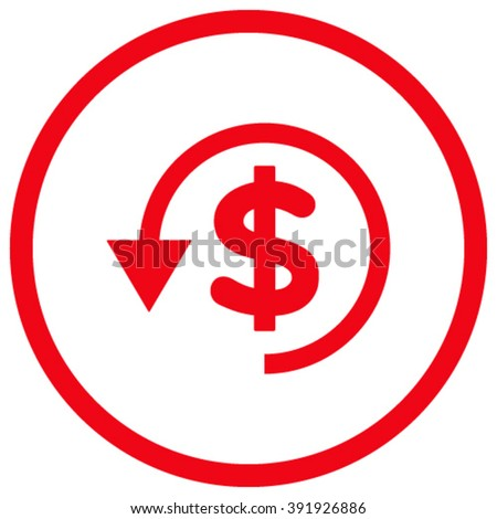 Chargeback vector icon. Style is flat rounded iconic symbol, chargeback icon is drawn with red color on a white background. - stock vector