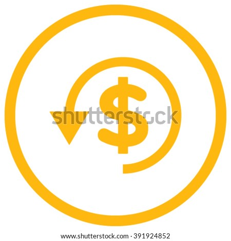 Chargeback vector icon. Style is flat rounded iconic symbol, chargeback icon is drawn with yellow color on a white background. - stock vector